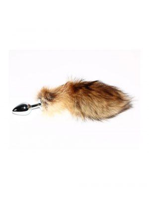 Furry Fantasy Red Fox Tail Butt Plug 3.5 Inch Side