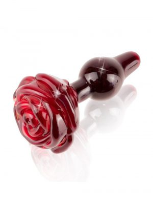 Pipedream Icicles No 76 Red Glass Rose Butt Plug 3 Inch