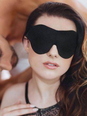 SportSheets Beginners Soft Blindfold Black Wearing
