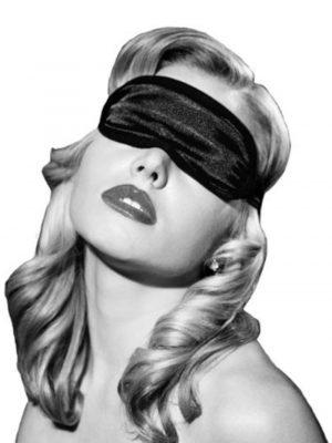 Sex & Mischief Satin Blindfold Black Wearing