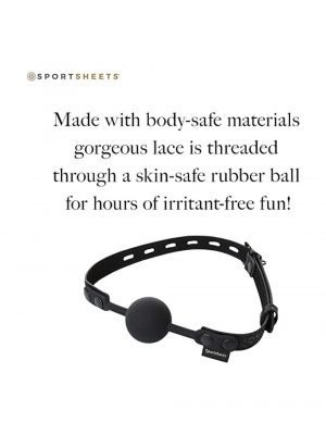 SportSheets Sincerely Locking Lace Silicone Ball Gag Black One Size Info