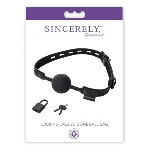 SportSheets Sincerely Locking Lace Silicone Ball Gag - Black, One Size